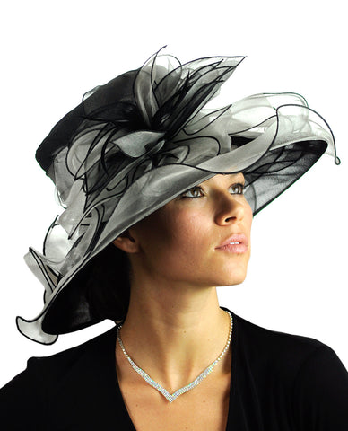 NYFASHION101 Kentucky Derby Organza Sinamay Dress Hat w/ Ruffle Flower