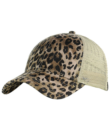 C.C Leopard Print Faux Suede Front Panel Mesh Back Precurved Baseball Cap Hat