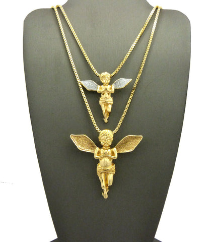Gold-Tone Dusted Pray Angel Pendant Set w/ Box Chain Necklaces