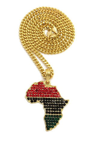 "Colored Stone Pan Africa Continent Pendant with 3mm 24"" Cuban Chain Necklace"