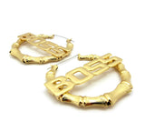 BOSS Charm Bamboo Door Knocker Hoop Pincatch Earrings, Gold-Tone