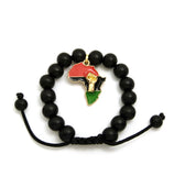 Power Fist on Pan Africa Charm with 12mm Adjustable Wooden Bead Macrame Bracelet