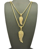 "Dual Stone Stud Angel Pendant Set w/ 2mm 24"" & 30"" Box Chain Necklaces in Gold-Tone"