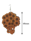 Wooden Floral Turban Fro African Woman Head Dangle Pierced Earrings