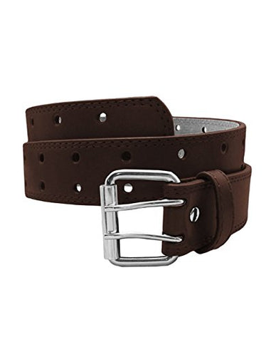 EURO Womens Thick Wide 2 Hole Leather Belt, Brown