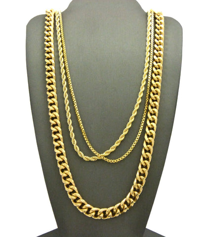 "Hip-Hop Style Gold-Tone 24"" Box, 24"" Rope, & 30"" Cuban Necklace Set"