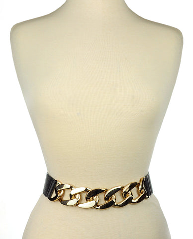 Women's Single Wide Gold-Tone Chain Elastic Stretch Waist Belt