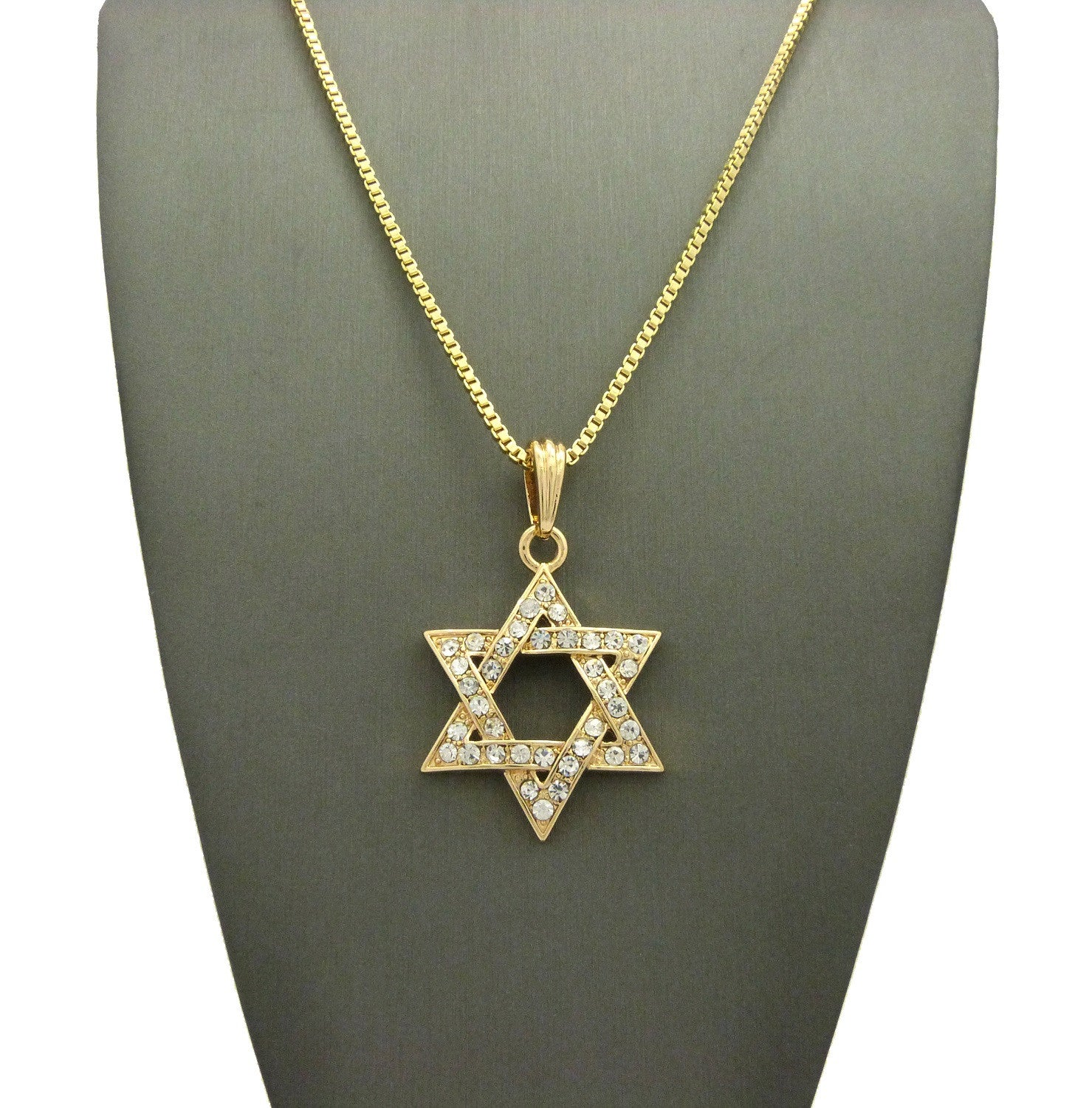 Stone Stud Hollowed Star of David Pendant  Necklace, Gold-Tone