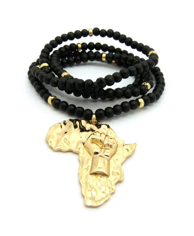 "Power Fist on Africa Pendant w/6mm 30"" Black Wood Bead Color Disc Necklace, Gold-Tone"