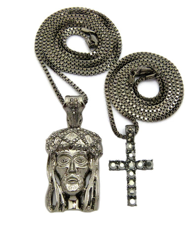 Studded Cross & Woven Crown of Thorns Jesus Head Pendant Set w/Box Chain Necklaces, Hematite-Tone