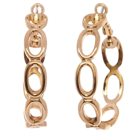 Women's Open Oval Chain Link 33m Hoop Pierced Earrings