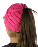 C.C BeanieTail Cotton Blend All Season Messy High Bun Ponytail Visor Beanie Cap