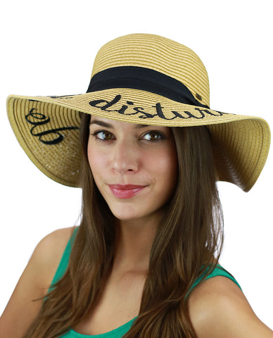 e848b6bac4273 ... Hat · C.C Women s Paper Weaved Beach Time Embroidered Quote Floppy Brim  Sun ...