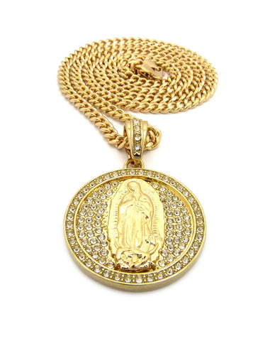 pendant medallion with jesus cuban women steel mother item statue design stainless necklace inch mary christ virgin s lord medal chain out iced of preaching the oval