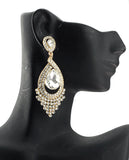 Dazzling Chandelier Teardrop Clear Stone Dangling Earrings in Gold-Tone