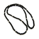 "Black Wood Bead Color Metal Disc 6mm 30"" Necklace"