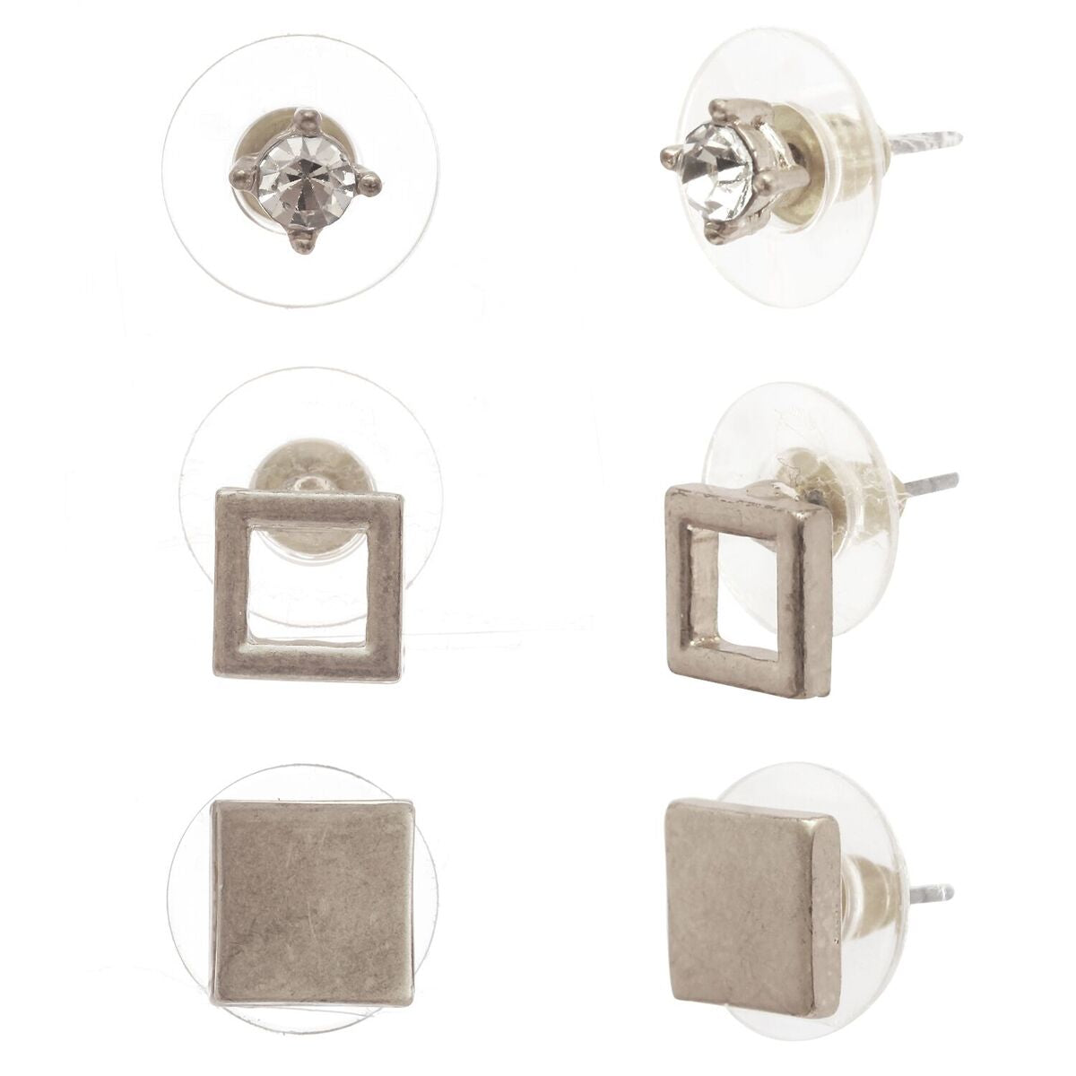 Women's Flat Square and Round 3 Pair Set Pierced Stud Earrings