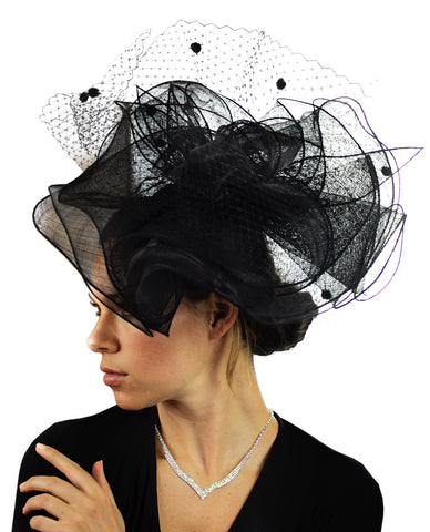 NYFASHION101 Wavy Contour Layered Sinamay Mesh Net Fascinator Headband
