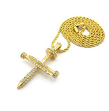 "Studded Allover 3 Cross Nail Pendant w/ 2mm 24"" Rope Chain Necklace in Gold-Tone"