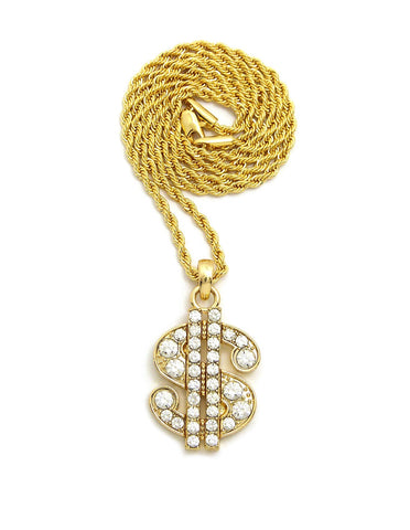 Stone Stud Dollar Sign Micro Pendant with Rope Chain Necklace, Gold-Tone