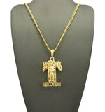 Polished Hollow Layered Last Kings Record Label Pendant w/ Chain Necklace