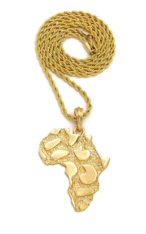 Nugget Africa Continent Pendant with Rope Chain Necklace, Gold-Tone