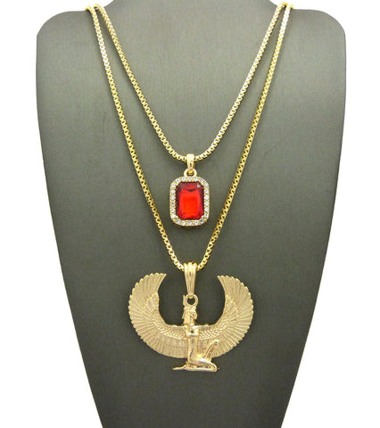 Faux Ruby Stone & Winged Kneeling Egyptian Goddess Maat Pendant Set w/ 2mm Box Chains in Gold-Tone
