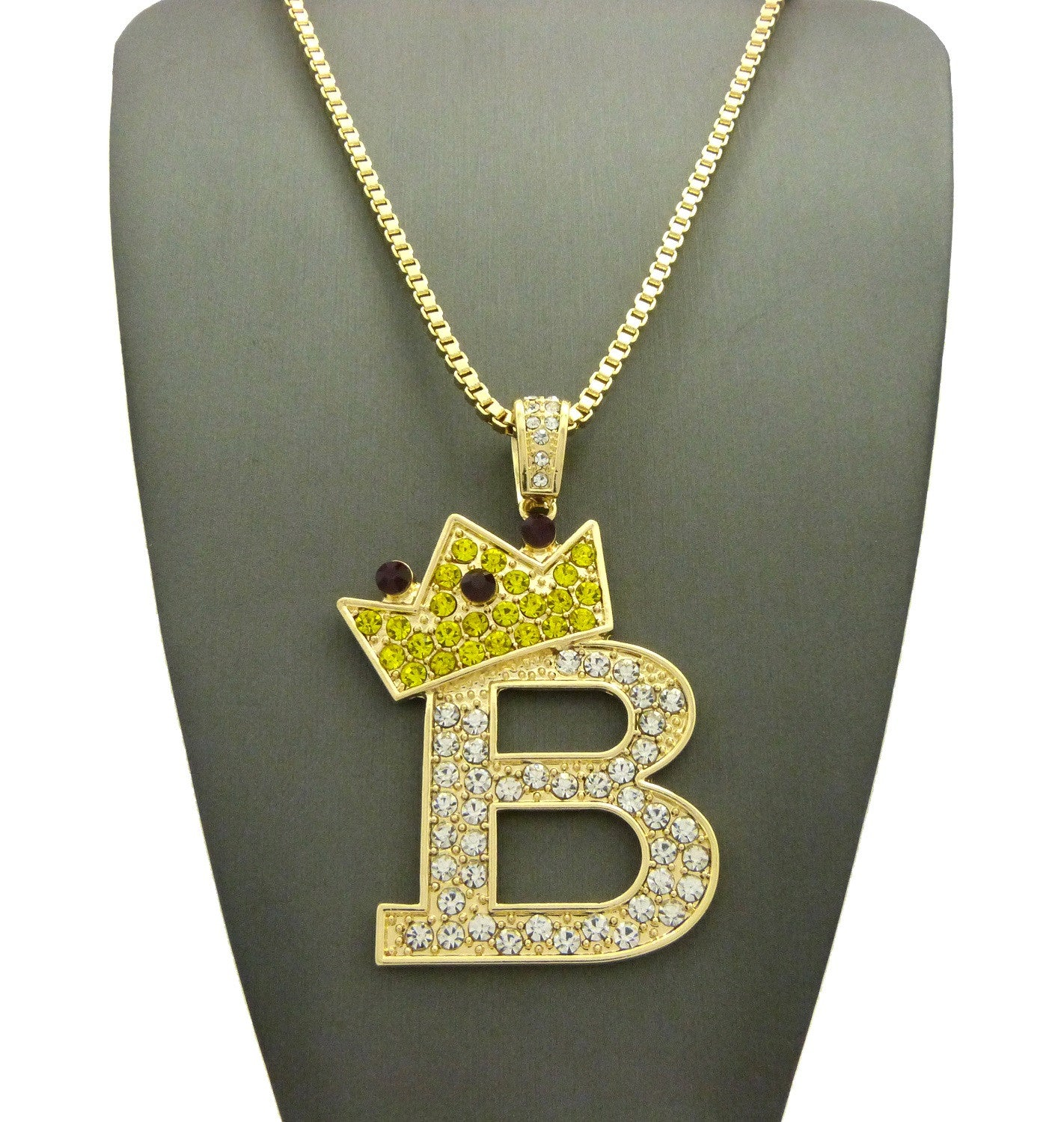Stone Stud Large Titled Crown Initial B Pendant  Necklace, Gold-Tone