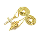 "Stone Stud Praying Angel & 2 Row Cross Pendant Set w/ 2mm 24"" & 30"" Box Chain Necklaces in Gold-Tone"