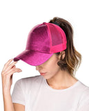 C.C Ponycap Messy High Bun Ponytail Adjustable Glitter Mesh Trucker Baseball Cap