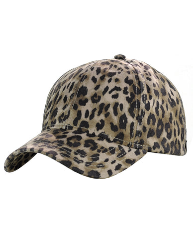 C.C Leopard Print Faux Suede Adjustable Precurved Bill Baseball Cap Hat