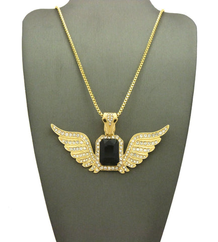 Stone Stud Gemstone w/ Angel Wing Pendant on Chain Necklace