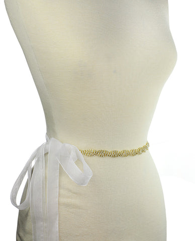 Wavy 3 Row Rhinestone Link Sash Belt with Mesh Ribbon in Gold-Tone