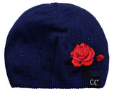 C.C Rhinestone Embellished Embroidered Rose Angora Skull Cap Beanie, Black