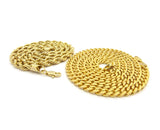 "Hip-Hop Style 6mm 24"" Rope Chain & 6mm 30"" Box Cuban Chain Necklace Set, Gold-Tone"