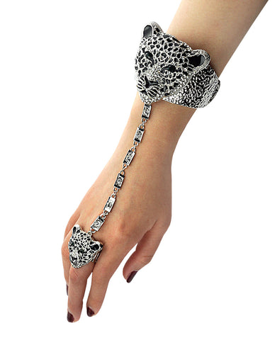 Bohemian Stone Stud Jaguar Head Arm Cuff Slave Bracelet with Ring in Silver-Tone