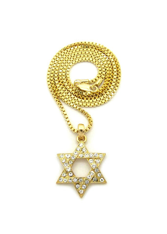 Stone Stud Star of David Micro Pendant with Chain Necklace