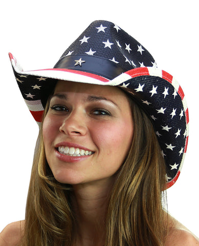 NYFASHION101 USA American Flag Patriotic Cowboy Cowgirl Hat
