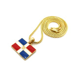 Dominican Republic Flag Micro Pendant w/ Chain Necklace