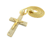 "Cross Pendant w/ 36"" Chain Necklace - Box Chain, Paved Crucifix Jesus, Gold-Tone"