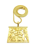 Gold-Tone Egyptian Hieroglyphic Tablet with Chain Necklace
