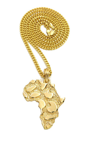 "Nugget Africa Continent Pendant with 3mm 24"" Cuban Chain Necklace, Gold-Tone"