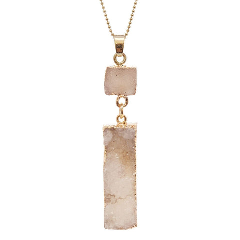 "Women's Druzy Square and Bar Dangle Pendant with 30"" Ball Chain Necklace"