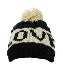 NYfashion101 Two Tone Handmade Love Knitted Short Pom Pom Beanie Hat