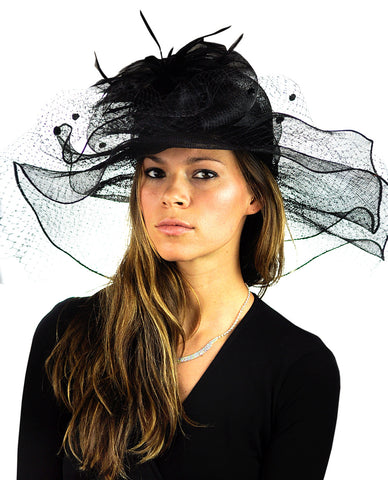 NYFASHION101 Wavy Wide Brim Veil & Feather Kentucky Derby Sinamay Hat