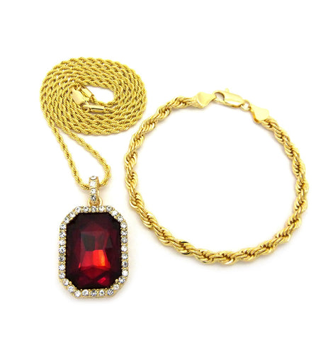 "Faux Ruby Stone Pendant 2mm 24"" Rope Chain Necklace & 5mm 8"" Rope Chain Bracelet Set in Gold-Tone"