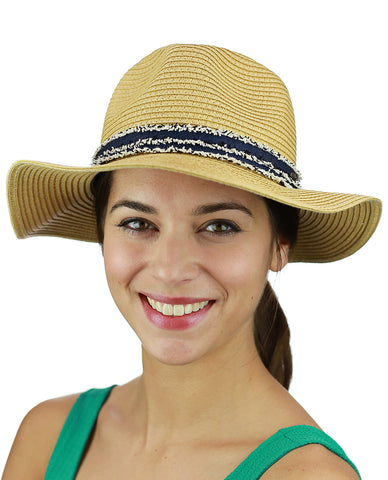 C.C Women's Paper Woven Panama Sun Beach Hat with Navy Fuzzy Band, Natural