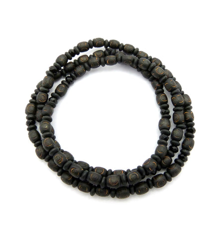 "8mm 30"" Wood Bead & Black Glass Bead Hip-Hop Necklace"