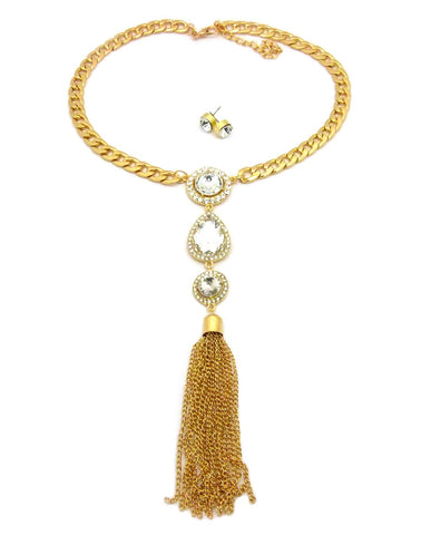 Women's Bohemian Dangling Multi Gemstone Tassel Necklace and Ball Earring Set in Gold-Tone