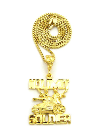 Polished No Limit Soldier Tank Pendant w/ Gold-Tone Box Chain Necklace
